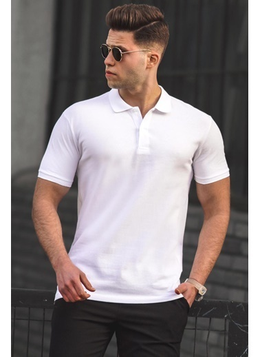 Madmext   Basic Polo Yaka Erkek Tişört 5101 Beyaz